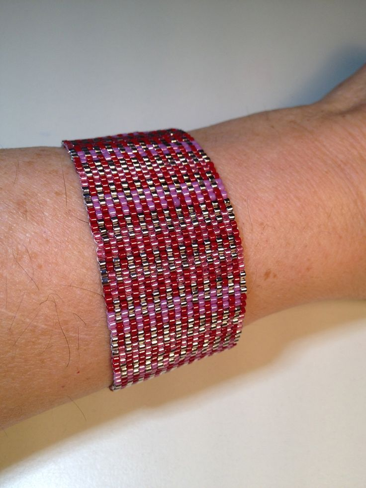I call it the Pink Lady, using various pink delica beads, making this beautiful cuff / $25  manoncreativemoments@gmail.com