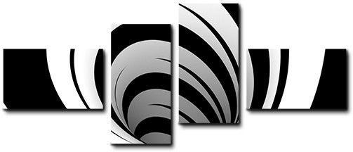 Quadro moderno 4 pz stampa su tela cm 176x74 arte arredo spirale bianco e nero