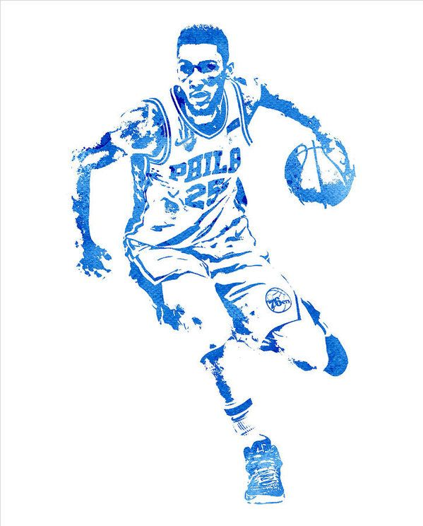 Ben Simmons Philadelphia 76ers Water Color Pixel Art 1 Art Print