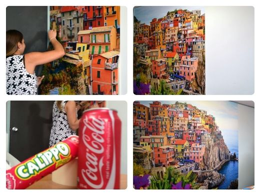Installing the Cinque de Terre wall mural on a hot summer day in Melbourne; queue some cold refreshments!