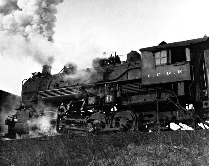 Illinois Central 0-8-0 steam locomotive #528 in Centralia, Illinois, in December 1958