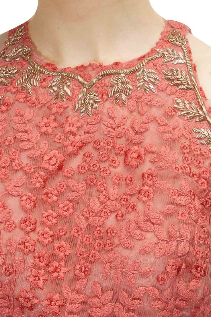 Monotone embroidered coral crop top with high waisted lehenga available only at Pernia's Pop-Up Shop.