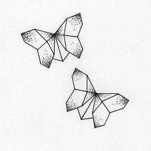 Papillons en origami avec des points Plus