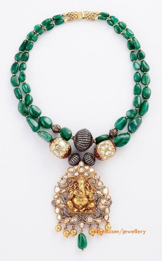 emerald-necklace-ganesh-pendant-amrapali