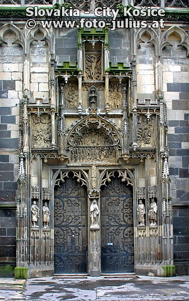 Main Entrance to St. Elisabeth Cathedral, Košice, Slovakia. The St. Elisabeth Cathedral is a Gothic cathedral and Slovakia's biggest church, as well as one of the easternmost Gothic cathedrals in Europe. (V)