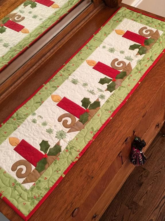 (7) Name: 'Quilting : 'Christmas Candles' table runner pattern
