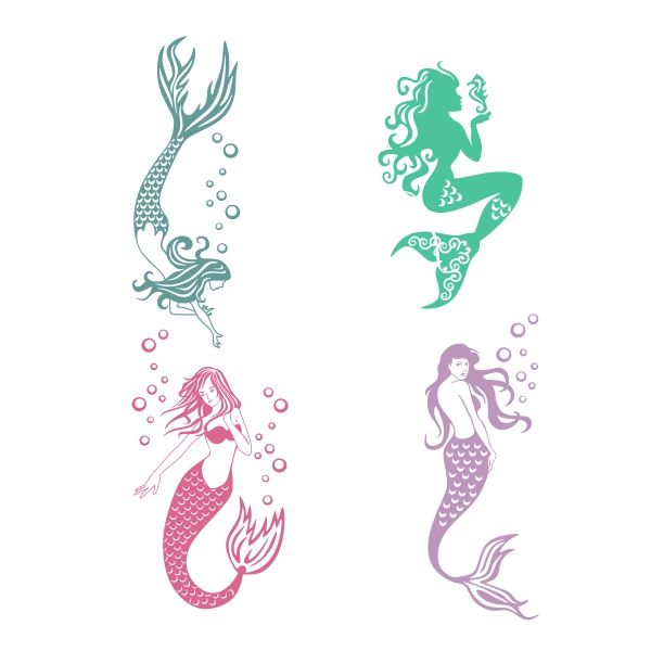 Mermaids Cuttable Design Cut File. Vector, Clipart, Digital Scrapbooking Download, Available in JPEG, PDF, EPS, DXF and SVG. Works with Cricut, Design Space,  Cuts A Lot, Make the Cut!, Inkscape, CorelDraw, Adobe Illustrator, Silhouette Cameo, Brother ScanNCut and other software.