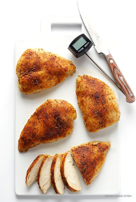 Learn how to make a PERFECT baked chicken breast -- delicious, juicy, tender, and fool-proof!   gimmesomeoven.com