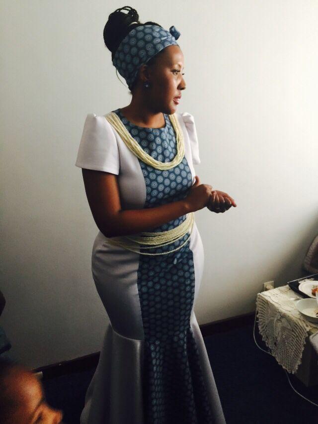 Traditional Basotho Seshweshwe Wedding Outfit Fashion