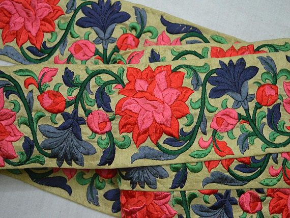 Costume trim, Trimmings, Embroidered Trim, Decorative Trims, Sari Border, Trim By The Yard, Sewing Indian Fabric Trim, Fashion tape trim Peach, Red, Pistachio Green, Forest Green, Steel Grey, Grey Embroidered designer Trims on Beige silk Fabric. This beautiful Lace can be used