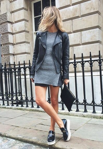 Moto jacket & Stella McCartney loafers