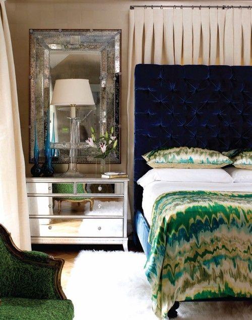 love this whole room: Mirror, Blue Velvet, Tufted Headboards, Interiors, Colors, Velvet Headboards, Jewels Tones, Bedrooms, Design