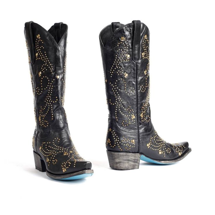 Lane Boots Zwarte leren dames cowboylaarzen met goudkleurige studsAlyssa