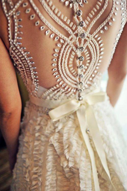 I love this beaded back design. Wedding dress ideas ♥