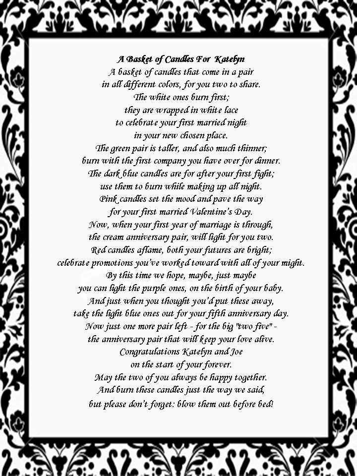 Wedding Shower Pass The Gift Poem : princess bridal shower invitations Bridal Shower Gift: Candle Poem ...