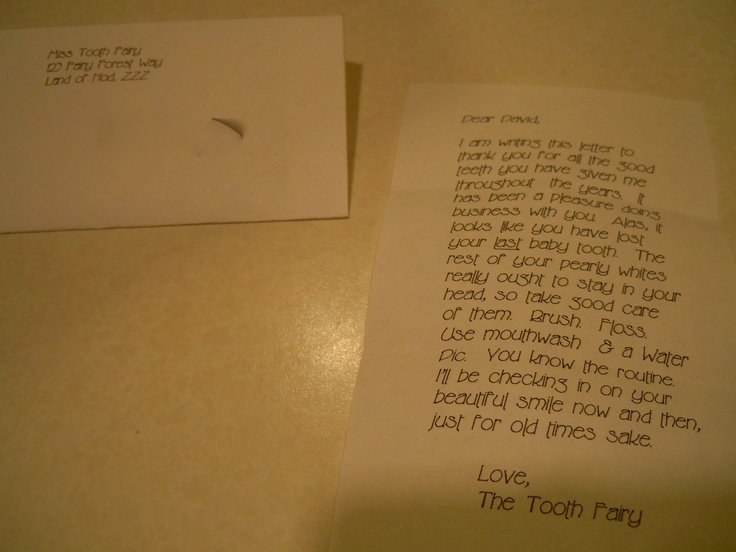 My boy lost his last baby tooth. This is a teeny-tiny letter, about the size of a half-dollar, from the tooth fairy.