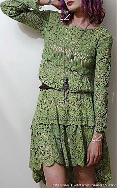 Light green dress.