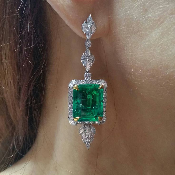 @colorsoucegems. Our 25.31ct tw #Colombian #emerald #earrings have friends and cousins from #Zambia @jckevents