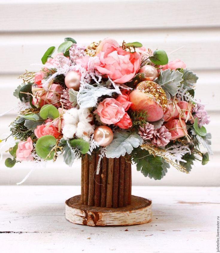Купить Розовый букет - бледно-розовый, букет, розовый, зима, зимний букет, рождество