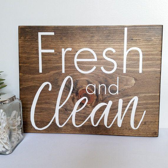 Fresh And Clean Sign Bathroom Wall Decor Wooden Bathroom