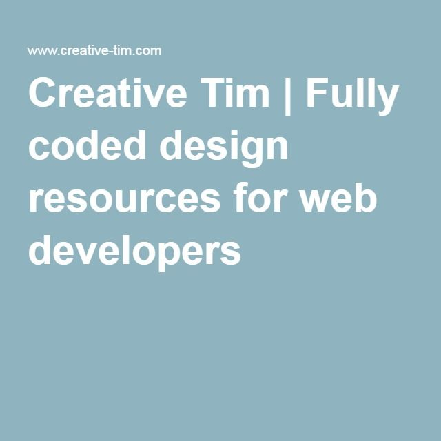 Creative Tim | Fully coded design resources for web developers