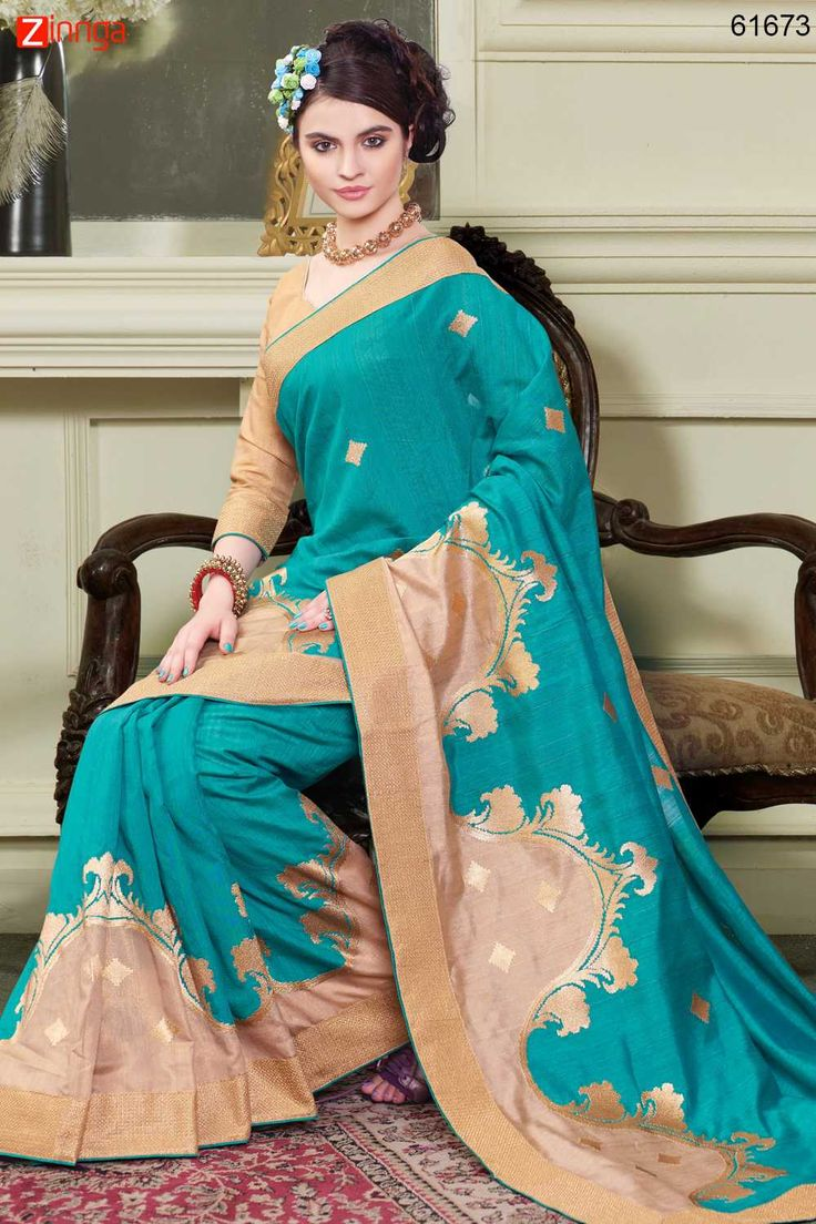 Beautiful Fancy Pallu Saree in Teal Blue Color. For Details Click www.zinnga.com