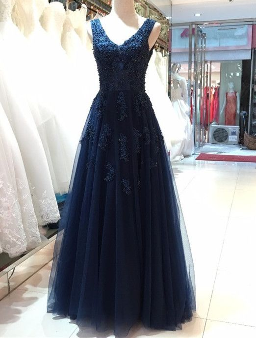 Elegant Navy Blue Tulle Backless Floor Length Prom Dresses, Party Gowns, Evening Dresses, Navy Blue Formal Dresses