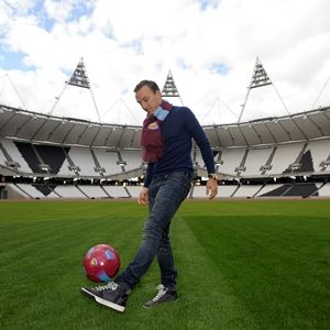 Mark Noble First Hammer to kick a ball at our new stadium July 4th 2013.