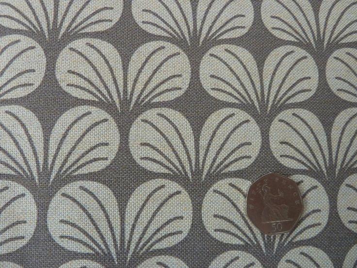 Canvas Fabric - Geometric Design: Grey / Ecru Leaf Print for Furnishings & Craft