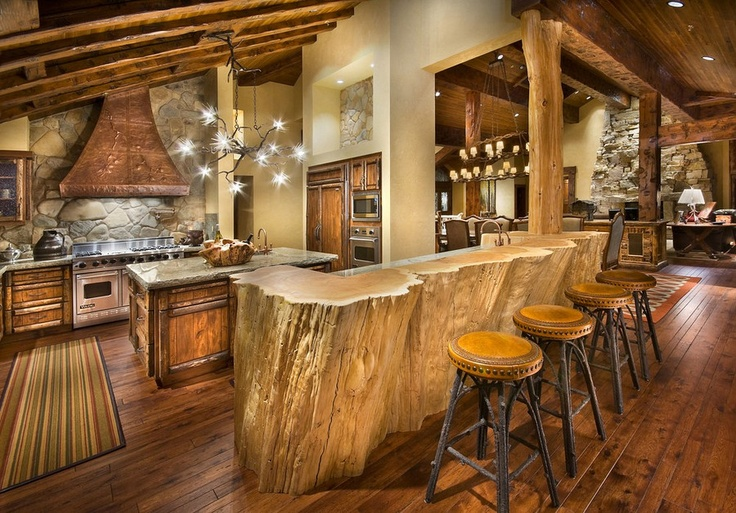 Stunning!: Dining Rooms, Trees Trunks, Dream House, Lighting Fixtures, Rustic Kitchens, Kitchens Islands, Large Kitchens, Trees Stumps, Logs Cabin