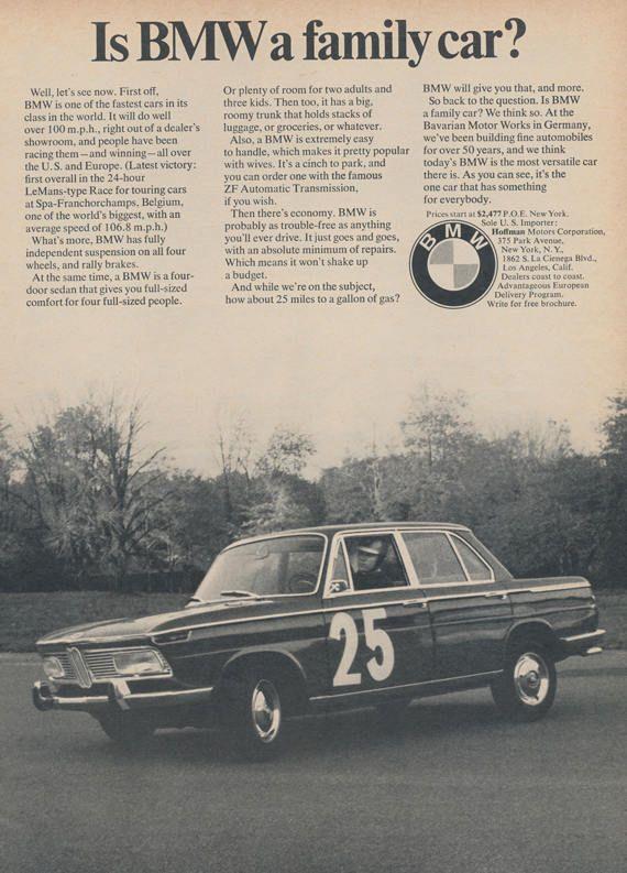 Rare 1967 BMW Car Ad Vintage Auto Advertisement Family Car / Race Car Photo Bavarian Motor Works Gift for Him Wall Art Garage Decor by AdVintageCom on Etsy