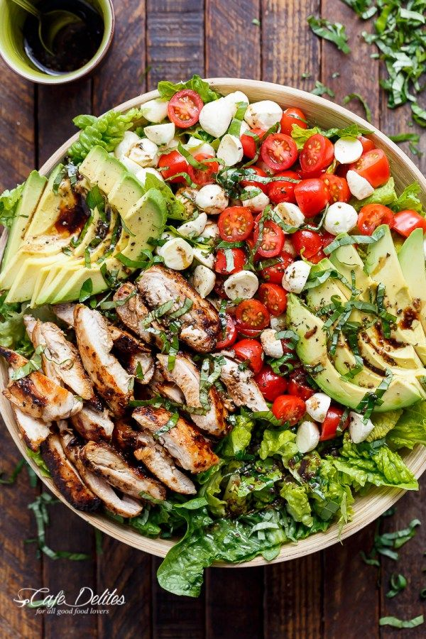 Balsamic Chicken Avocado Caprese Salad is a quick and easy meal in a salad drizzled with a balsamic dressing that doubles as a marinade! | http://cafedelites.com (Low Carb Easy)