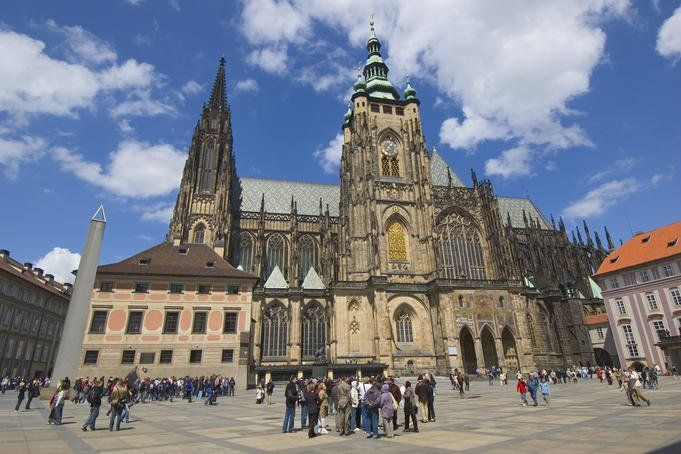 St Vitus's Cathedral and the Golden Gate within Prague Castle, Hradcany District.