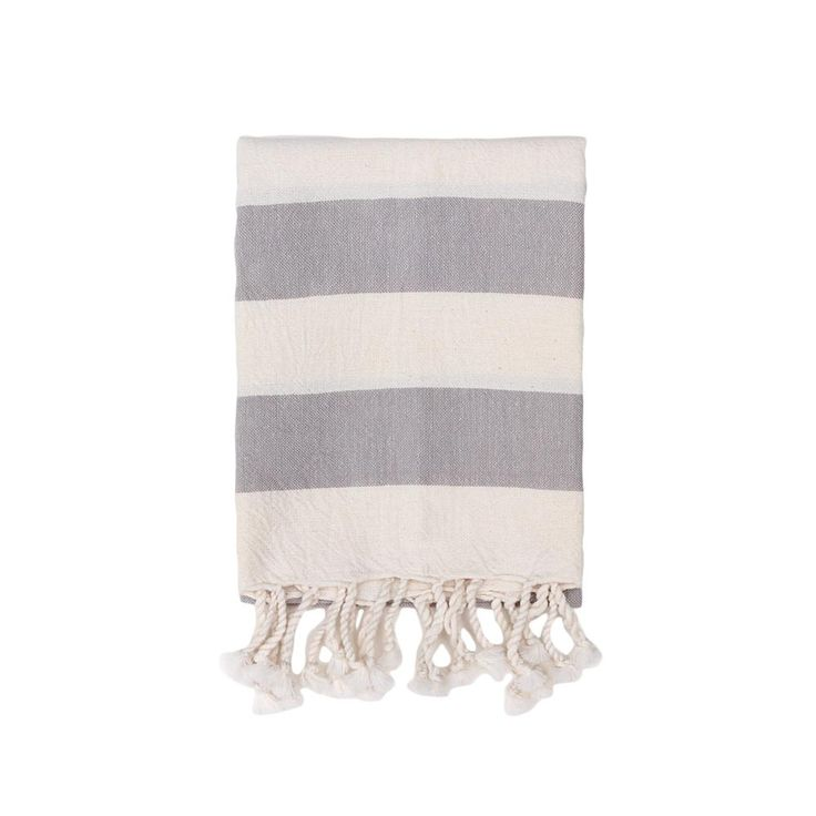 "HEATHER TAYLOR HOME  Designed in Los Angeles and handcrafted by artisans in Chiapas, Mexico,  Heather Taylor's home goods and textiles are inspired by her love of travel  and her eclectic entertaining style. This cotton hand towel is both  utilitarian and chic, with a wide stripe pattern in gray set against a pale  cream background.      * Handwoven in Chiapas, Mexico     * Measures 32"" x 16""     * Machine wash cold; tumble dry low"