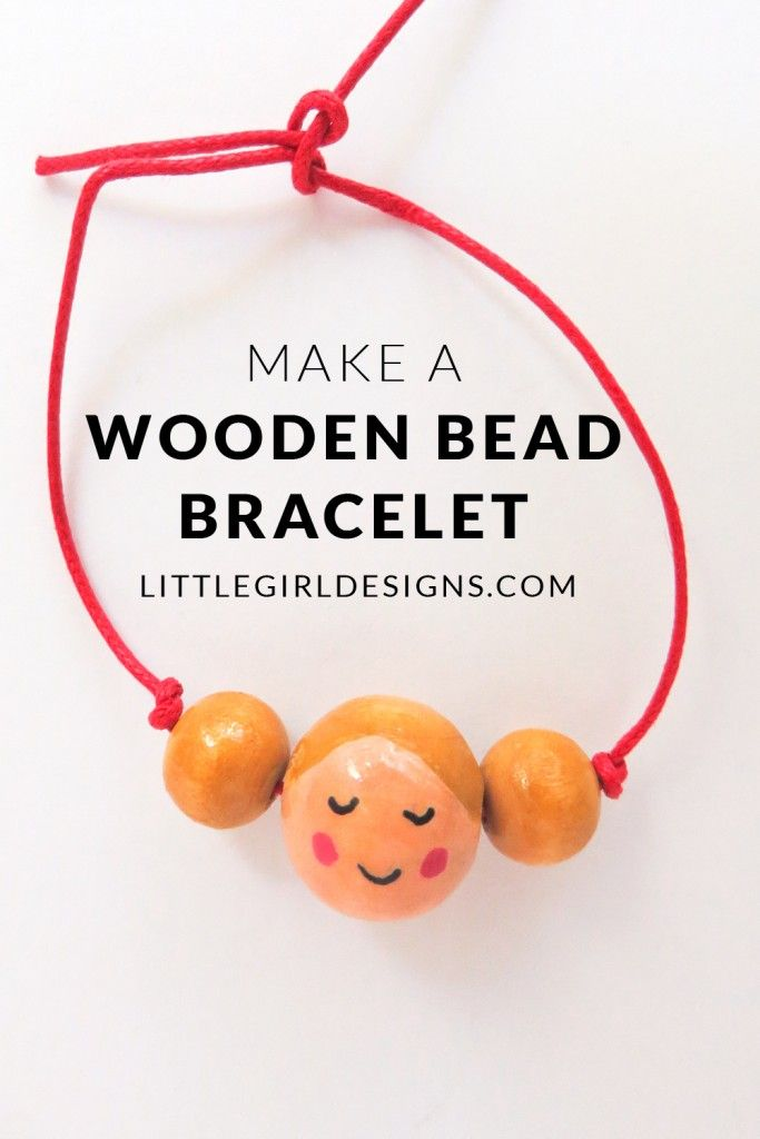 Make a Wooden Bead Bracelet - How to make a simple bracelet from wooden beads. I customized this one to look like my daughter, and you can too! Such an easy and fun craft. :) @ littlegirldesigns.com