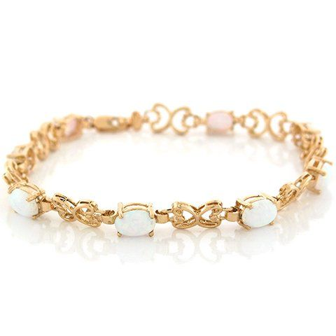 10k Yellow Gold Synthetic White Opal Butterfly Gold Designer Bracelet