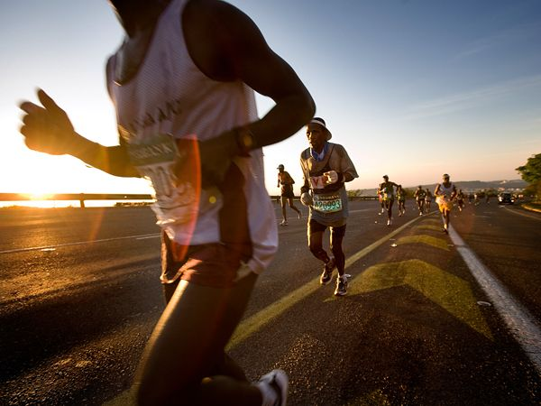 Photo: People running the Comrades Marathon in South Africa