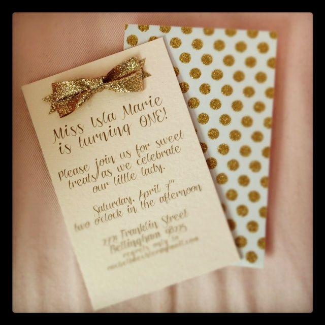 love the idea of an invitation backer... especially gold glittery polka dots!