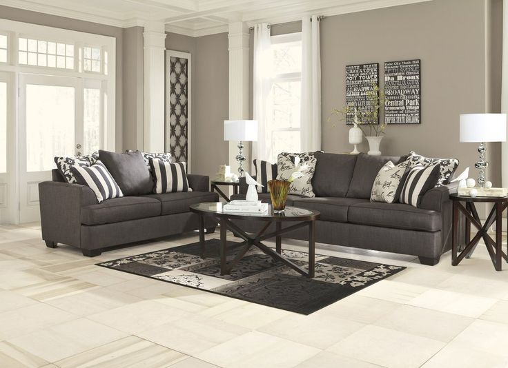 Levon Contemporary Charcoal Color Sofa And Loveseat With A Refined Design That Perfectly Utilizes