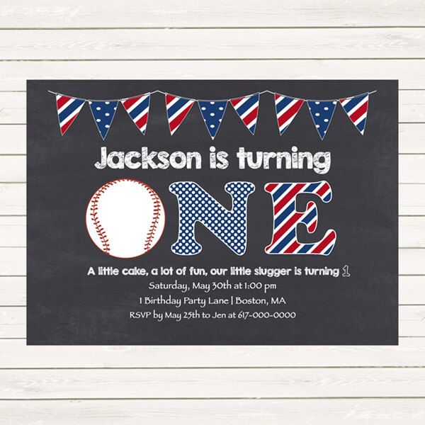Baseball 1st Birthday Invitations, Baseball Invitations, Red White Blue 1st, 2nd, 3rd First Birthday Invitation, Digital JPEG PDF Printable by DesignedbyGeorgette on Etsy https://www.etsy.com/listing/228942137/baseball-1st-birthday-invitations