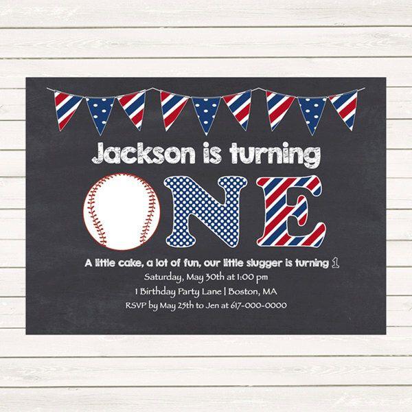 Baseball 1st Birthday Invitations, Baseball Invitations, Red White Blue 1st, 2nd, 3rd First Birthday Invitation, Digital JPEG PDF Printable by DesignedbyGeorgette on Etsy https://www.etsy.com/listing/228942137/baseball-1st-birthday-invitations