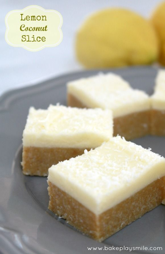 Lemon Coconut Slice I actually made this and it was divine. Tasted a bit like cheesecake!