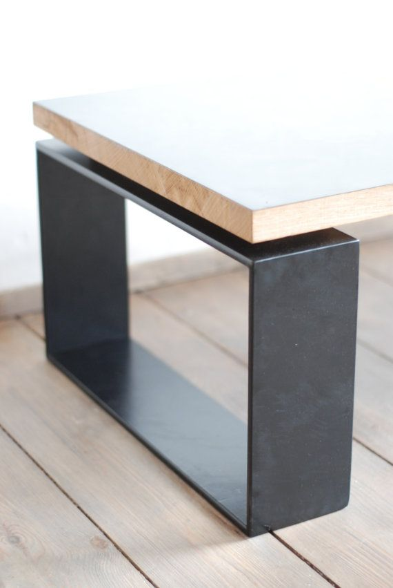 Minimalistic Coffee Table. Reclaimed Brass Plate Blackened By Ourselves In  A Special Chemical Process,