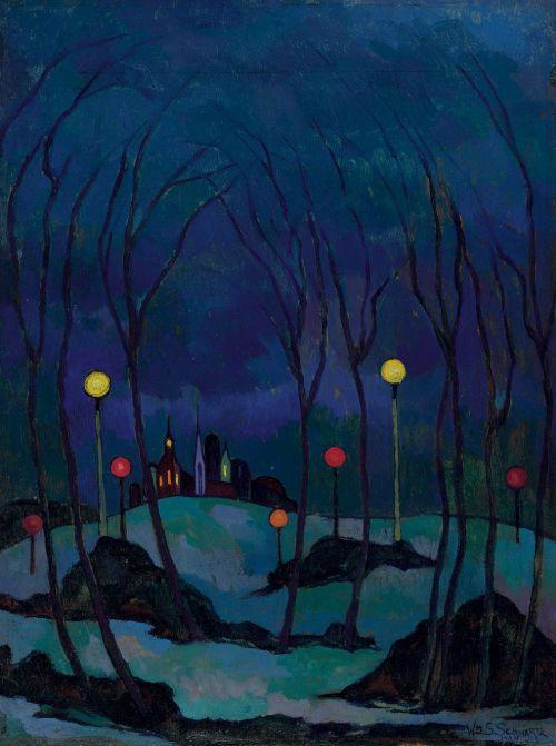 lawrenceleemagnuson: William Samuel Schwartz (USA 1896-1977) Winter Evening (1924)oil on panel 40.6 x 30.5 cm