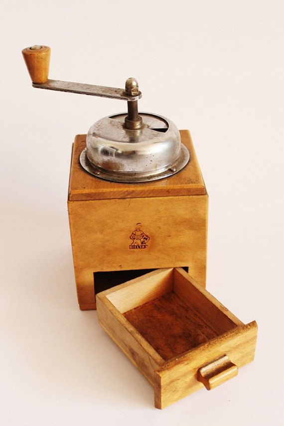 Vintage coffee grinder made in Poland wooden by MagicVintageShop