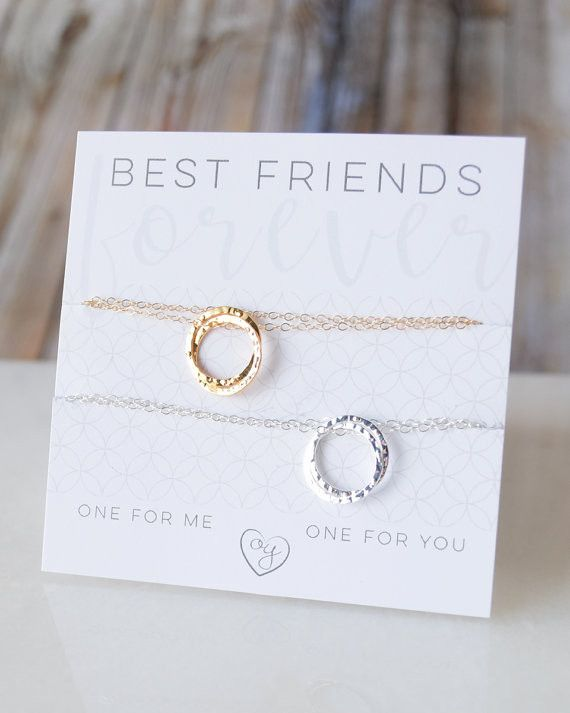 Best Friend Necklace Set - one for me, one for you! These dainty interlocking circles are connected as the two of you. Available in silver, gold or rose gold. By Olive Yew.