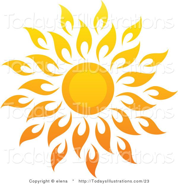 Vector Clipart of a Bright Summer Sun with Petal Rays 1