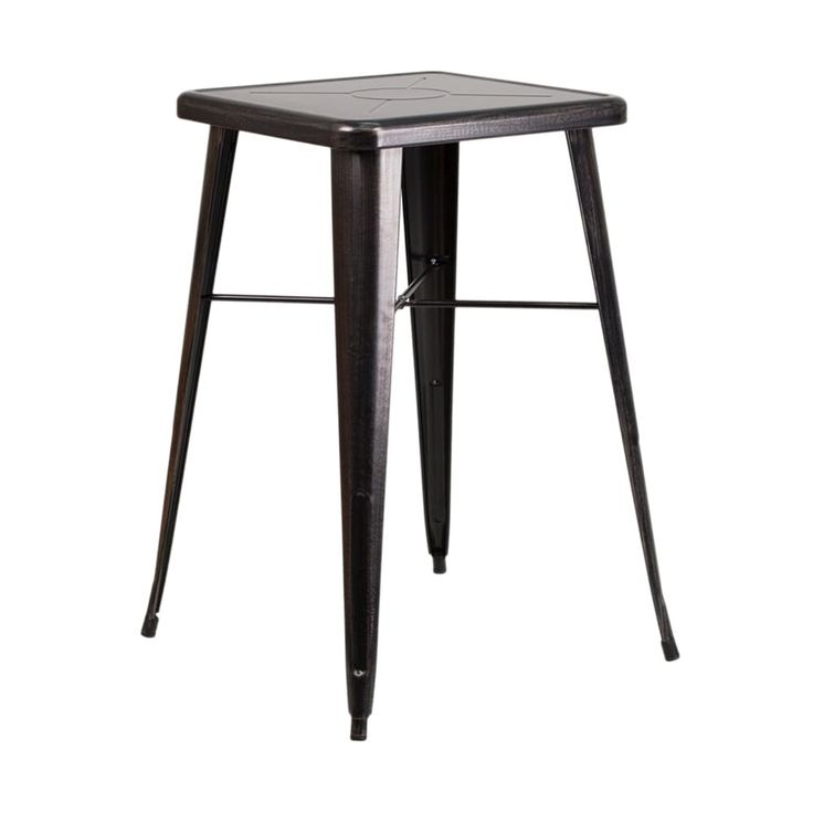 Offex 24'' Square Black-Antique Gold Metal (Grey) Indoor-Outdoor Bar Height Table [OF-CH-31330-BQ-GG]
