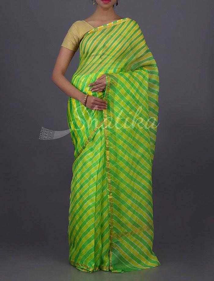Sindhura Lace Border Green And Yellow Alternating Pure #LehariyaSaree