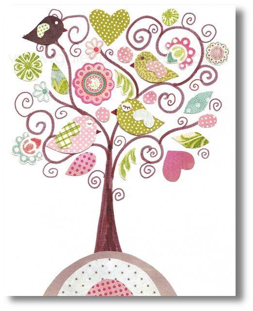 Nursery art print, nursery decor, baby nursery print, kids art, kids room decor, nursery wall art,, Bird, Fantasy Tree 8x10 print. $14.00, via Etsy.